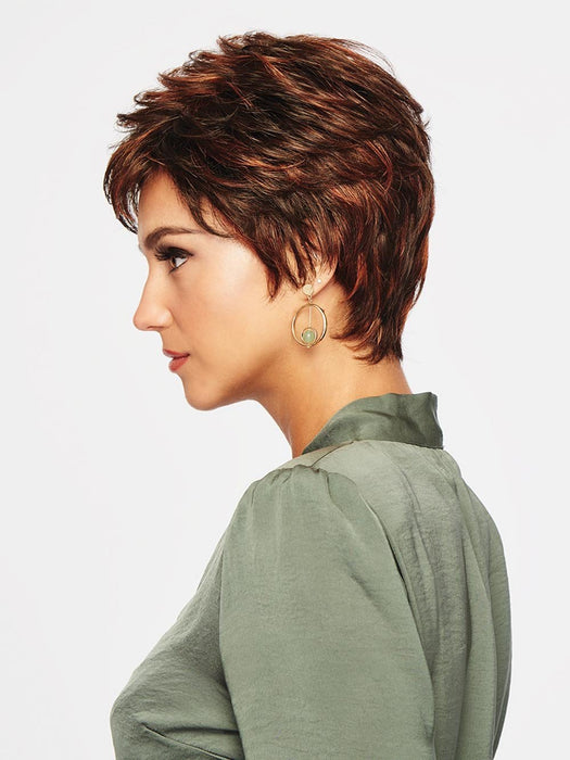 WINNER ELITE by RAQUEL WELCH | 20th Anniversary | R6/28H COPPERY MINK | Dark Medium Brown Evenly Blended with Vibrant Red Highlights