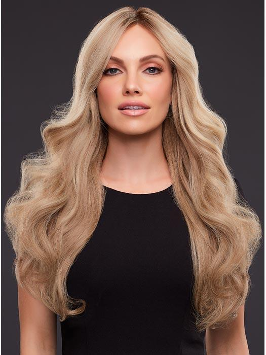 KIM Human Hair Wig by JON RENAU in 12FS8 | Medium Natural Gold Blonde, Light Gold Blonde, Pale Natural Blonde Blend, Shaded with Dark Brown