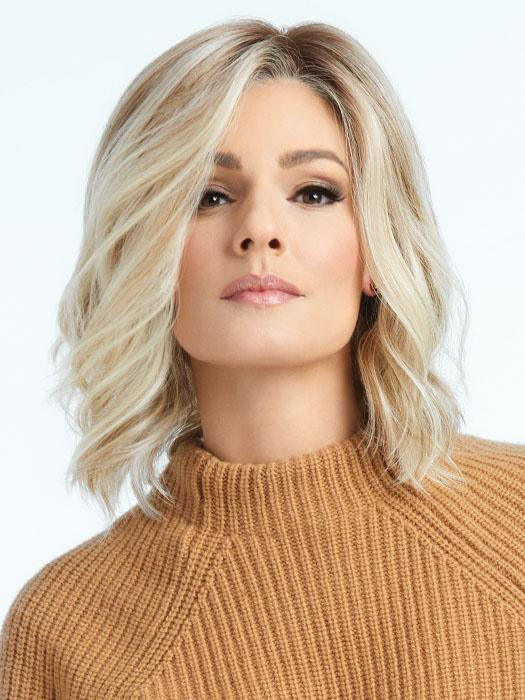SIMMER by RAQUEL WELCH in RL19/23SS SHADED BISCUIT | Light Ash Blonde Evenly Blended with Cool Platinum Blonde with Dark Roots
