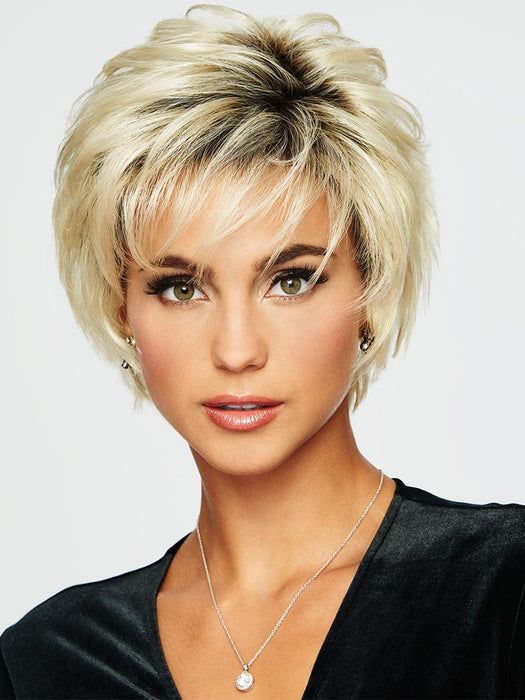 VOLTAGE LARGE by RAQUEL WELCH | 20th Anniversary SS613 SHADED PLATINUM | Light Golden Blonde with Dark Roots