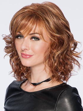 TOUSLED BOB by HAIRDO in R3025S+ GLAZED CINNAMON | Medium Reddish Brown with Ginger Blonde highlights