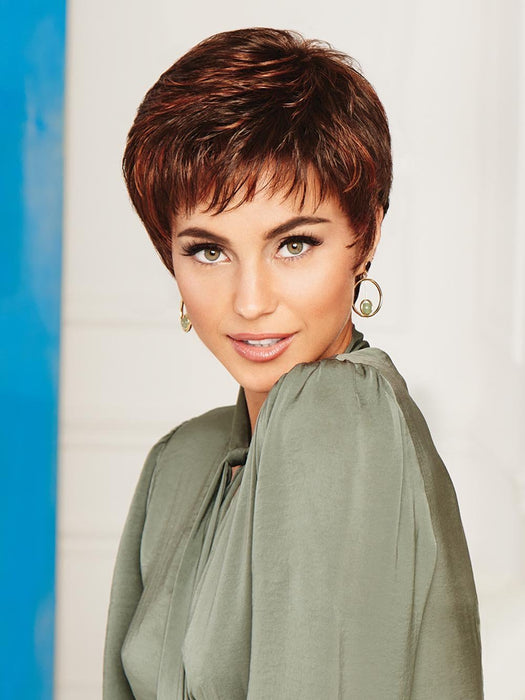 WINNER LARGE by RAQUEL WELCH | 20th Anniversary | R6/28H COPPERY MINK | Dark Medium Brown Evenly Blended with Vibrant Red Highlights