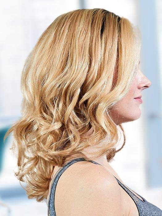 PLF 007HM by LOUIS FERRE in GINGER BLONDE TWIST | Light Blonde Blended with Light Red Tones, and Medium Brown Root (PIECE HAS BEEN CURLED FOR THIS LOOK)