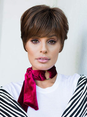"The Go For It Wig by Raquel Welch takes the classic ""boy"" cut and gives it a complete overhaul with the addition of longer layered areas at the front and sides for more styling options."