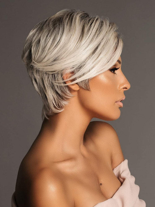 AMAZE by ELLEN WILLE in SILVER ROOTED | Pure Silver White and Pearl Platinum Blonde Blend (Style has been blow dried and shaping creme was used for this look)