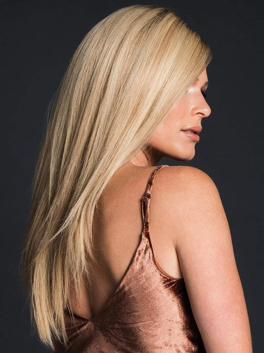OBSESSION by ELLEN WILLE in CHAMPAGNE ROOTED | Light Ash Blonde, Medium Golden Blonde, and Medium Honey Blonde blend and Dark Roots (This piece has been styled and straightened)