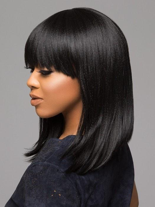 Styled in a long bob with full bangs | Color: 1B