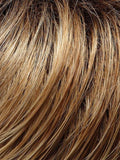 27T613S8 - Med Natural Red-Gold Blonde & Pale Natural Gold Blonde Blend and Tipped, Shaded w/ Med Brown
