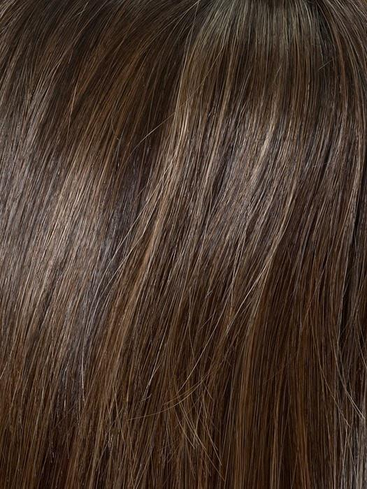 Color Amaretto & Cream: Dark brown at roots-overall medium brown highlighted with honey blonde