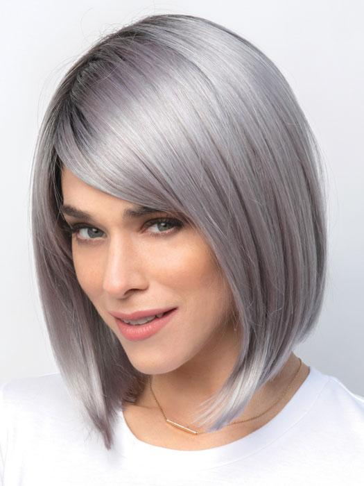 VADA by AMORE in SMOKY-GRAY-R | Dark Roots blended to medium Gray with Silver Highlights and Blue Undertones