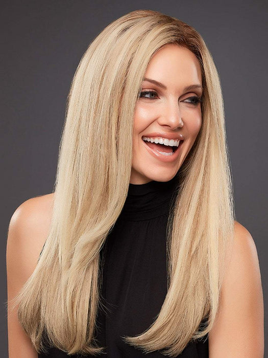 BLAKE PETITE Wig by JON RENAU in 12FS8 | Medium Natural Gold Blonde, Light Gold Blonde, Pale Natural Blonde Blend, Shaded with Dark Brown