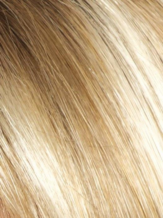 CREAMY-TOFFEE-LR | Light Platinum Blonde blended with Light Honey Blonde and Dark Brown Roots