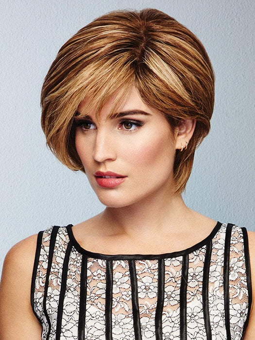 CALLING ALL COMPLIMENTS Wig by RAQUEL WELCH in SS12/22 SHADED CAPPUCCINO | Light Golden Brown Evenly Blended with Cool Platinum Blonde Highlights and Dark Roots
