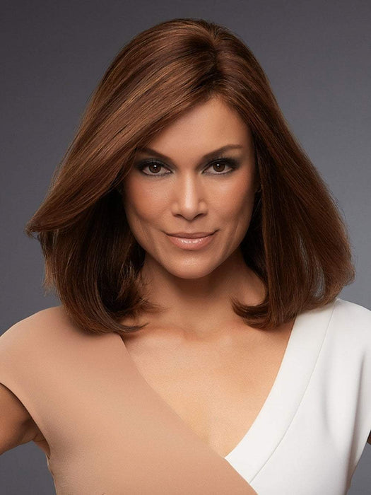 flipped for fun or curled for seduction, this versatile shoulder length bob maximizes styling options with 100 % human hair and an undetectable lace front