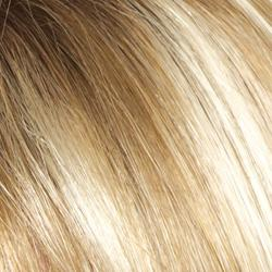 Creamy Toffee-R Rooted Dark with Light Platinum Blonde and Light Honey Blonde 50/50 blend