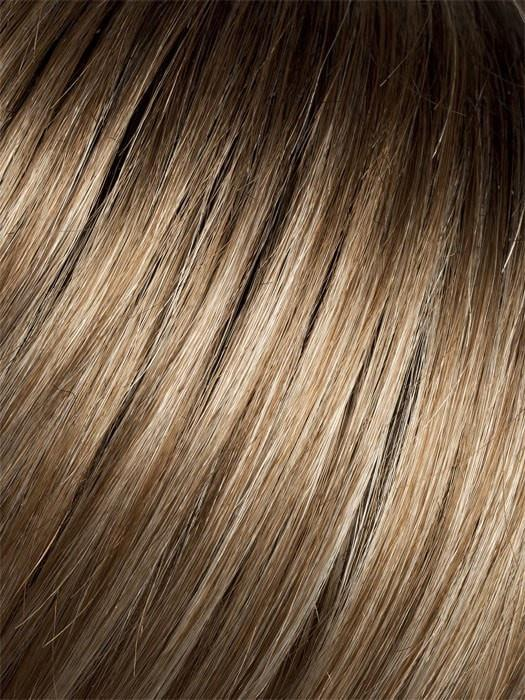 DARK-SAND-ROOTED | Light Brown Base with  Lightest Ash Brown and Medium Honey Blonde Blend and Dark Roots