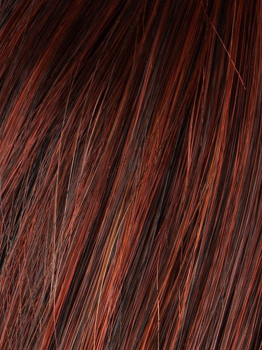 Color Hot-Chili-Rooted = Bright Copper Red and Medium Burgundy Red Blend with Medium to Dark Brown Roots