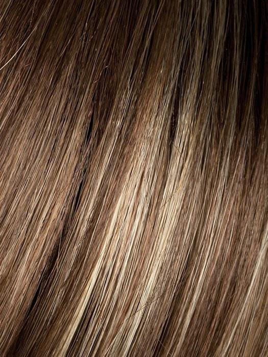 Color Light-Bernstein-Rooted = Light Auburn, Light Honey Blonde, and Light Reddish Brown blend and Dark Roots