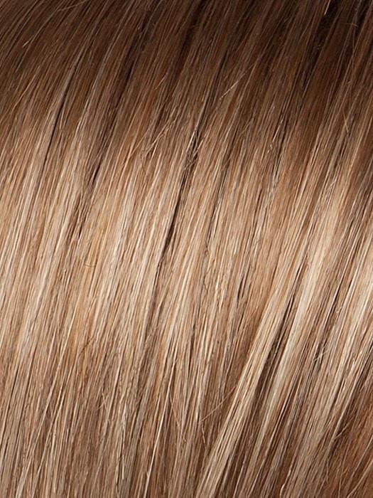 SAND-ROOTED = Light Brown, Medium Honey Blonde, and Light Golden Blonde blend with Dark Brown Roots
