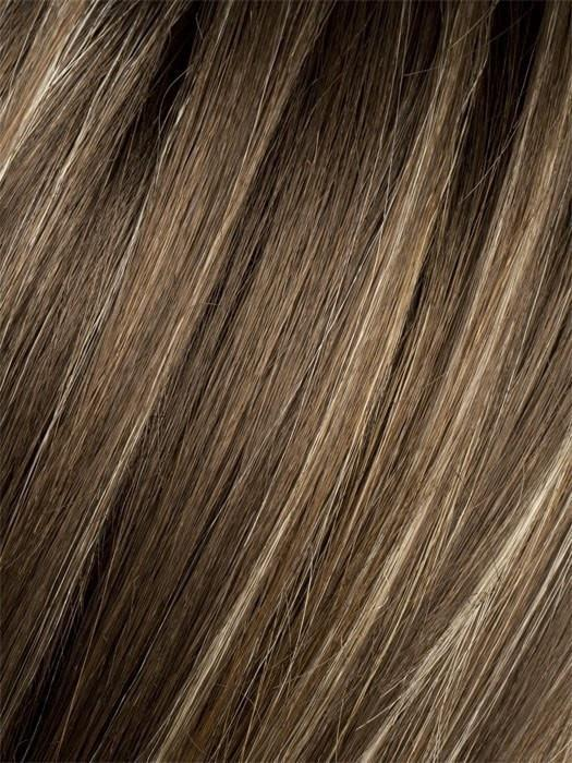 Color Tobacco-Rooted = Medium Brown base with Light Golden Blonde highlights and Light Auburn lowlights and Dark Roots