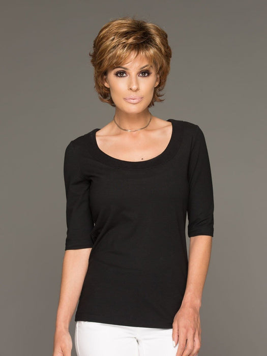 The Envy Alyssa is a fashion forward layered shag with bangs. Fluff it up or comb in closer for a more subtle appearance.