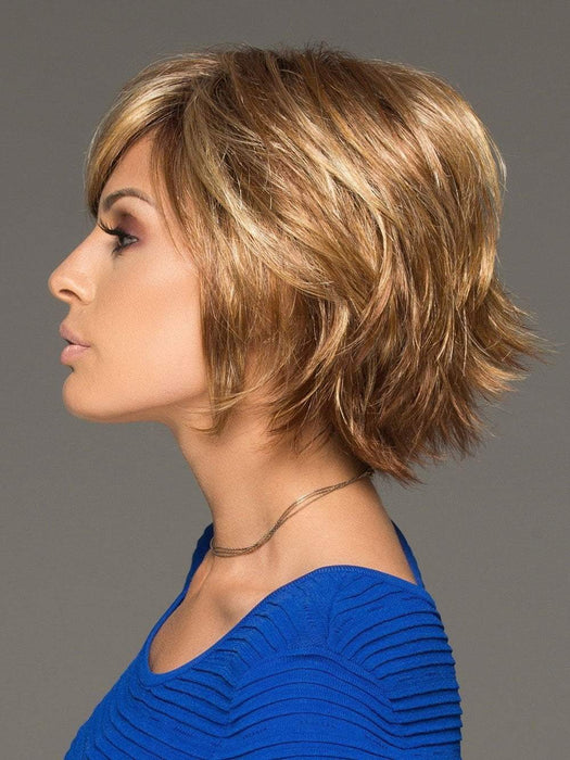 The longer sidepieces and fringe can be cut or trimmed by your stylist. This short wig is full of layers, flips, and angles