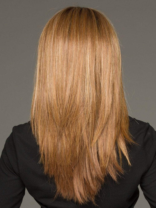 GOLDEN NUTMEG | Medium Brown roots with overall Warm Cinnamon base and Golden Blonde highlights (This piece has been styled and straightened)