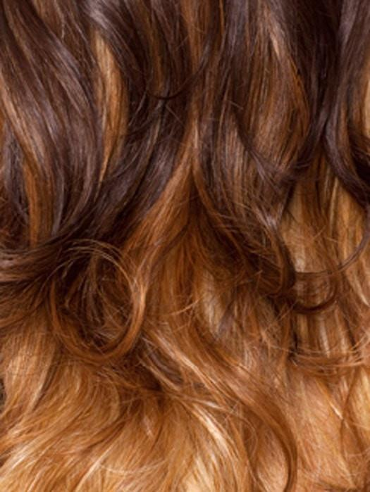 GM432 | Gradual Mix OMBRE color. Reddish Brown Top, Golden Auburn Middle, Golden Platinum Blonde Bottom