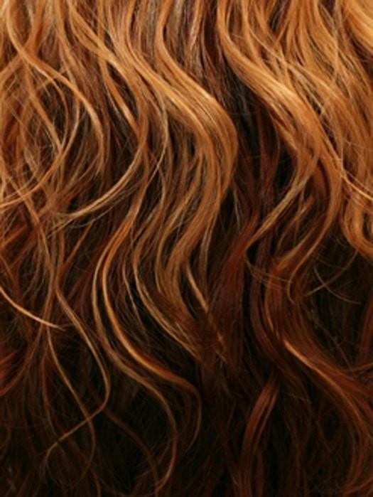 GM832A | Gradual Mix OMBRE Color. Dark Golden Platinum Blonde Top, Light Red Middle, and Auburn Brown Bottom