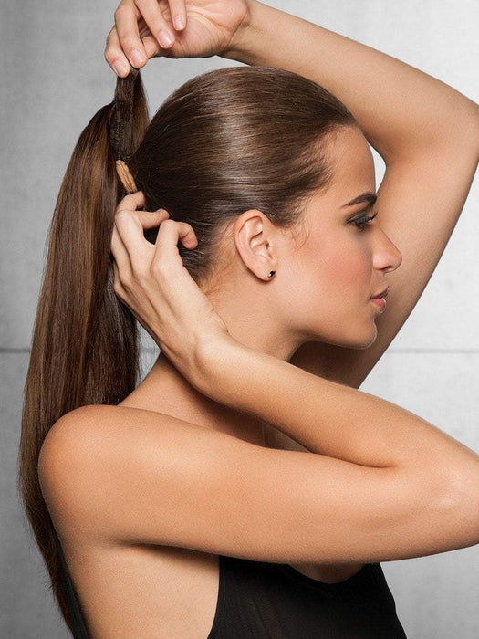 Add length and volume to your ponytail in an instant… just clip in, wrap and go!