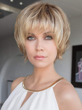 BLOOM Wig by Ellen Wille in SAND ROOTED | Light Brown, Medium Honey Blonde, and Light Golden Blonde blend with Dark Brown Roots