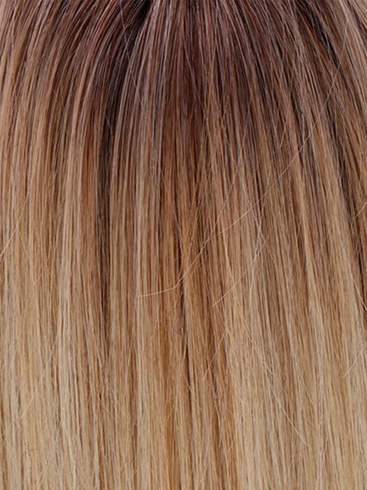 HONEY WITH CHAI LATTE | Light Golden Brown with Pale Golden Blonde & Medium Golden Blonde Highlights on Top, Medium Brown Roots