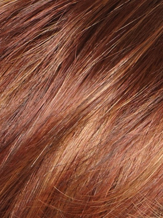 Color Irish-Spice = Rooted Dark with Medium Auburn base with Dark Honey Blonde highlights