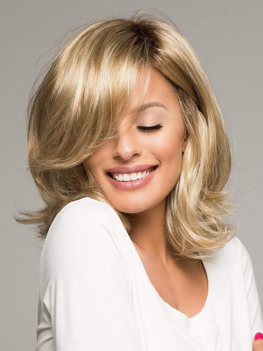 CARRIE by Noriko in CREAMY TOFFEE R | Rooted Dark with Light Platinum Blonde and Light Honey Blonde evenly blended