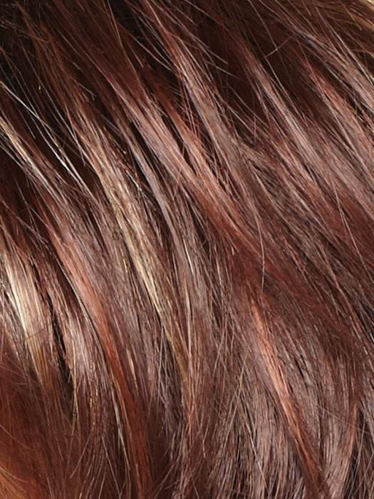 RAZBERRY-ICE-R | Rooted Dark Medium Auburn base with Copper and Strawberry Blonde highlights