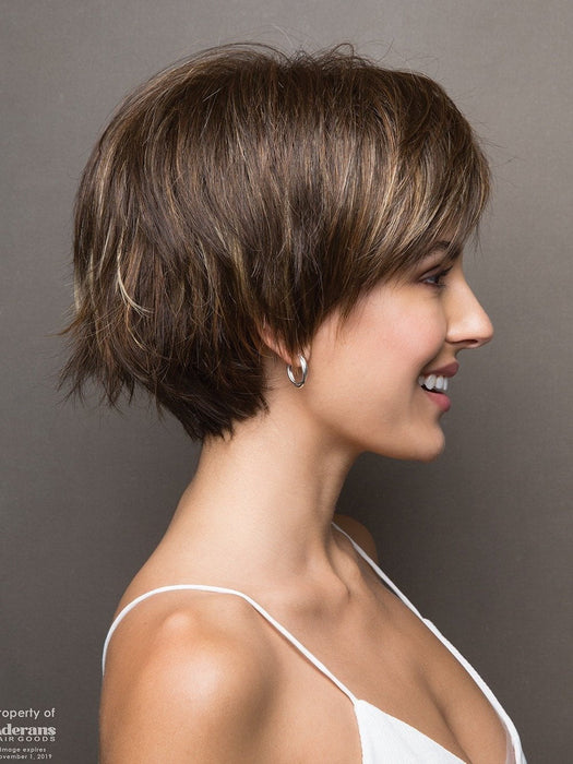 Morgan has a full bang and subtle, but spunky, flared tips at the nape