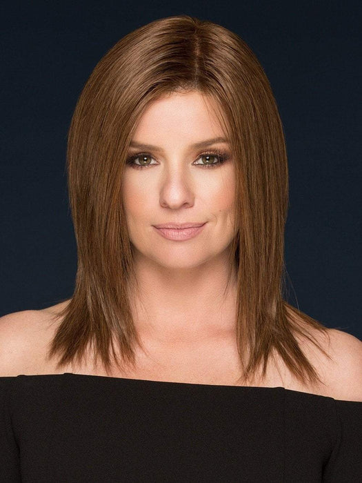 BEGUILE by Raquel Welch in R10 CHESTNUT | Rich Medium Brown with subtle Golden Brown Highlights Throughout  (This piece has been styled and straightened)