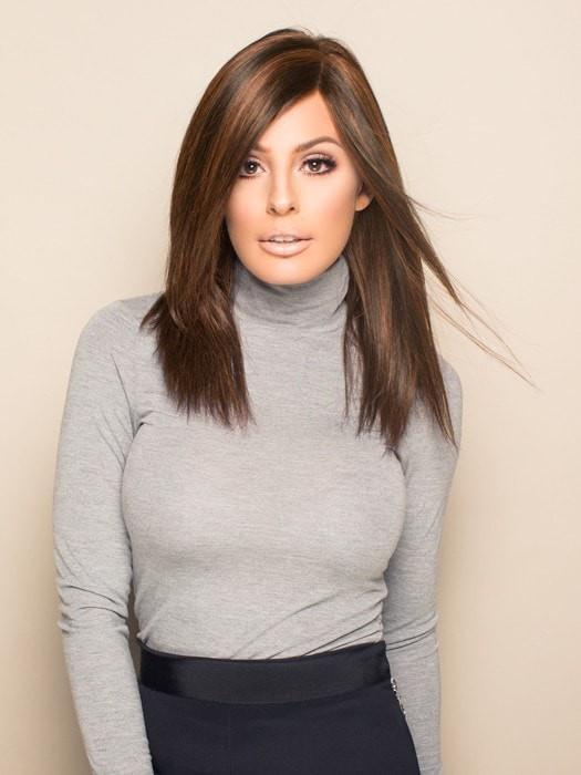 THE GOOD LIFE by Raquel Welch in R10 CHESTNUT | Warm Medium Brown with Ginger Highlights on Top (This piece has been styled and straightened)