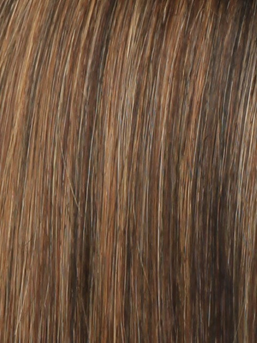 Color R3329S+ = Glazed Auburn: Rich Dark Reddish Brown with Pale Peach Blonde Highlights
