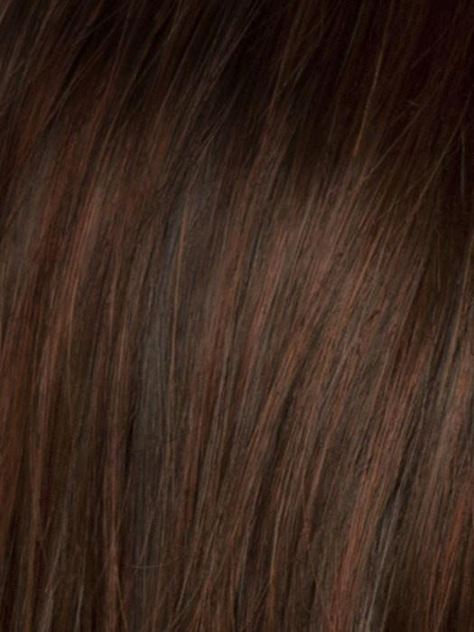 Color SS130 = Dark Copper: Bright Reddish brown with subtle copper highlights, dark brown roots | Aria Large by Raquel Welch