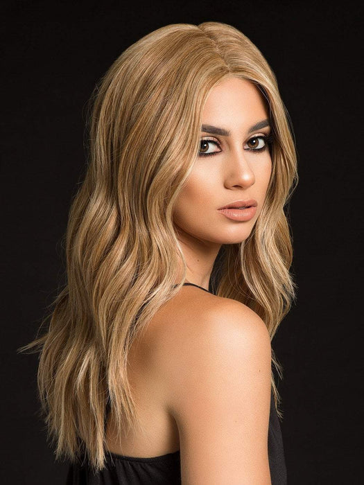 HIGH PROFILE Human Hair Wig by RAQUEL WELCH in SS14/88 SHADED GOLDEN WHEAT | Dark Blonde Evenly Blended with Pale Blonde Highlights and Dark Roots (This piece has been styled and curled)