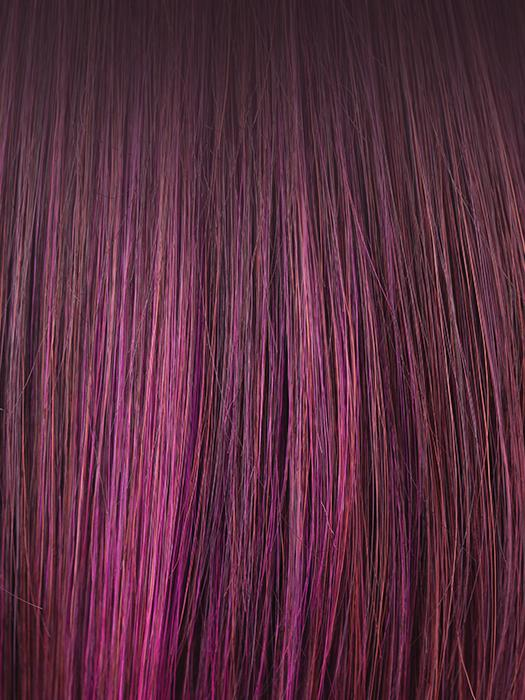 PLUMBERRY-JAM-LR | Medium Plum with Long, Dark roots with mix of Red and Fuschia