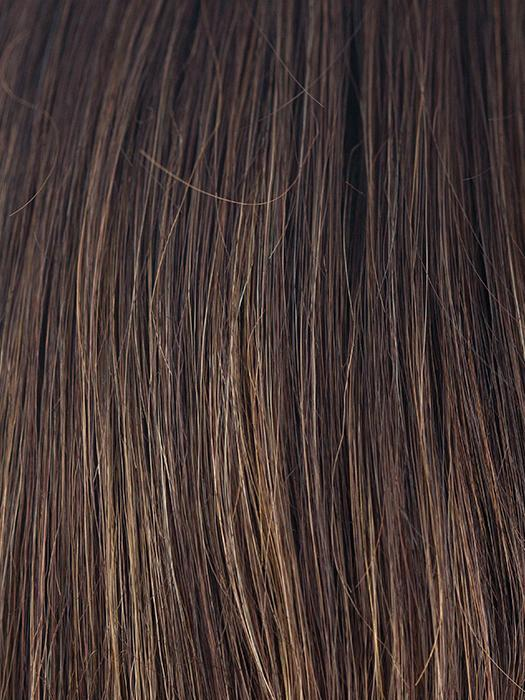 COFFEE-LATTE-R | Dark Brown with evenly Blended Honey Brown highlights and Dark roots