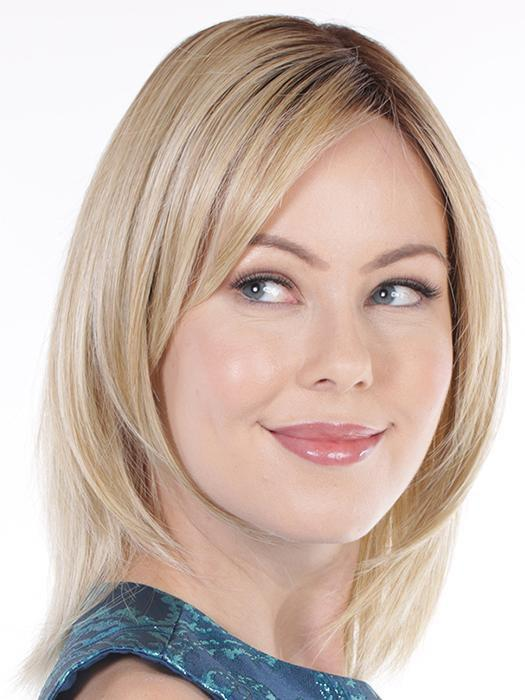 With a lace front finish, this wig's short bangs can be pinned up or swept to one side