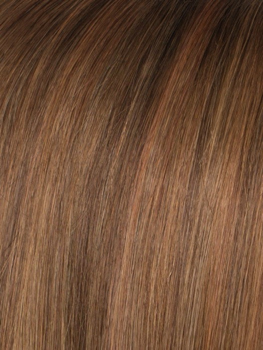 Color SOFT-COPPER/ROOTED = Medium Auburn, Copper Red, and Light Auburn blend with Dark Roots
