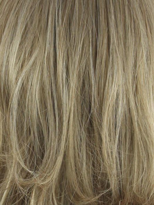 Sugar Cane-R | Medium Brown rooted, Platinum Blonde and Strawberry Blonde 50/50 blend base with Light Auburn highlight