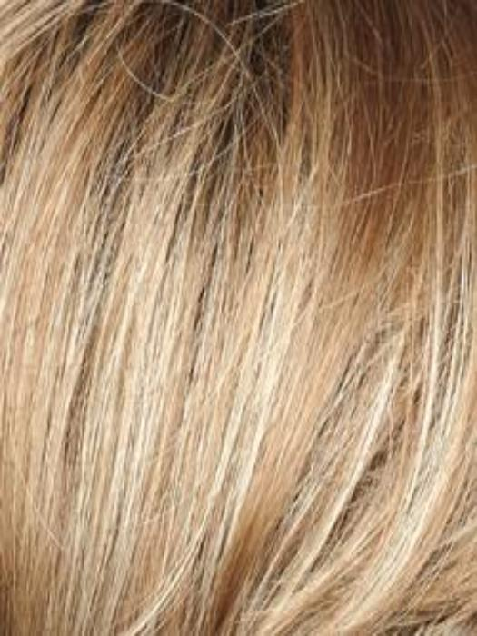 SPRING HONEY-R | Honey Blonde Evenly Blended with Gold Platinum Blonde with Dark Brown roots