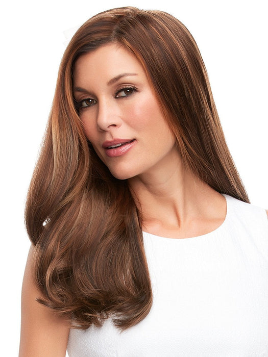 This long Remy human hair volumizer is worn over the entire crown, providing the most coverage of any clip in hair topper.