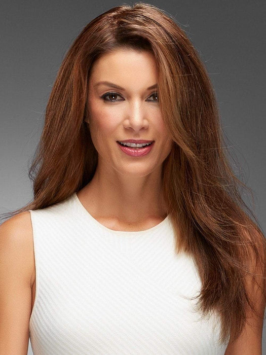 "Top Style HH 18"" is made with superb Remy human hair on a translucent monofilament base, this heat-stylable clip in topper adds natural body and volume at the crown."