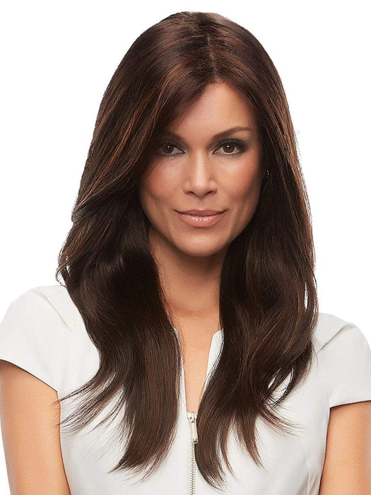 Layered and natural looking hairstyle with softly feathered ends. If you're looking for a wig with a lot of length